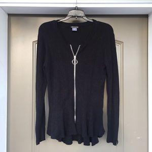 Venus Black Zip-Up Sweater M
